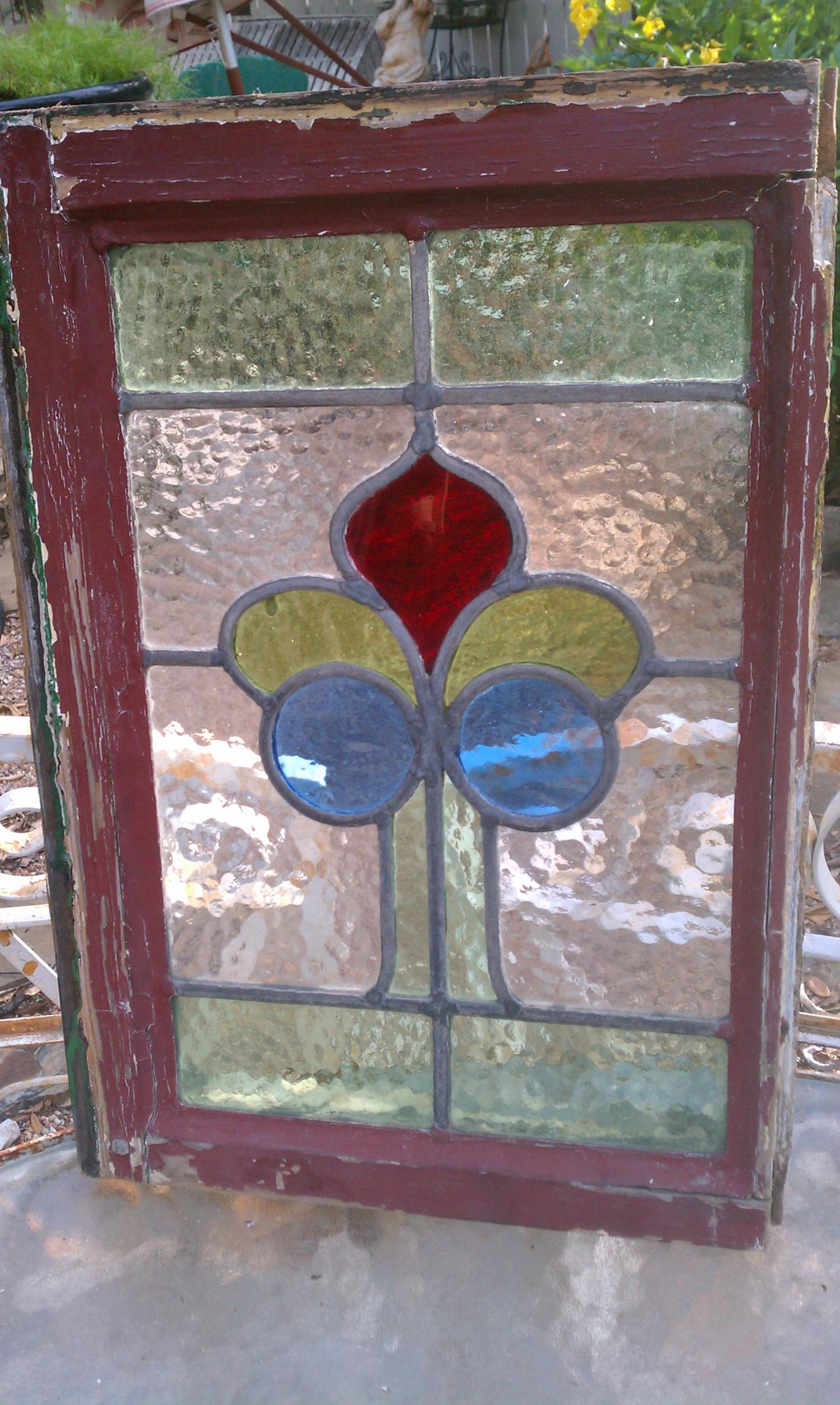 Old Is Better Than New Antique Large Stained Glass